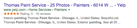 Rich snippets example from Yelp.com